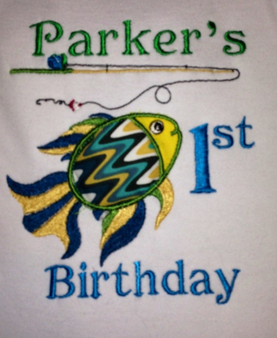 Items similar to fish theme 1st birthday on etsy for First birthday fishing theme