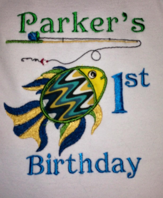 Fish theme 1st birthday by justminebystephanie on etsy for Fishing first birthday
