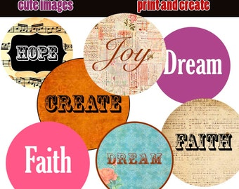 INSTANT DOWNLOAD Words 8,5X11  Bottle Cap Images Digital Collage Sheet  1 inch