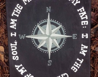 """11x4 Canvas Invictus Black and White """"I am the master of my fate: I am the captain of my soul."""""""