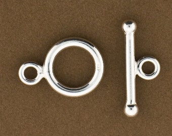Sterling Silver Toggle Clasp, Sterling Silver Toggles, Sterling Silver Findings, Silver Necklace Closure, 1 SET, 925 Toggle clasp, toggles