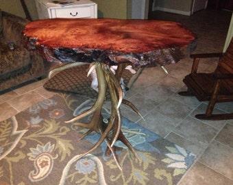 Redwood burl bistro table with elk antler legs