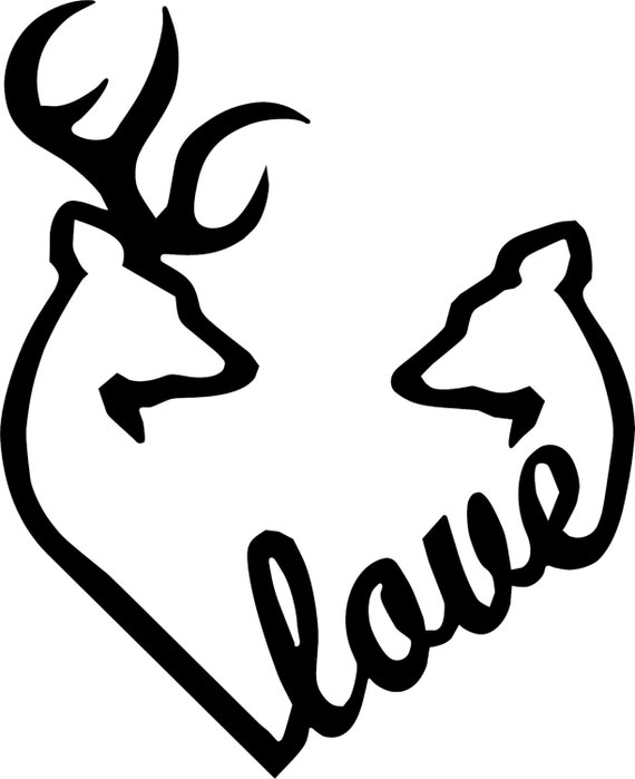 Browning Love Heart Deer Buck And Doe Vinyl Decal - Browning vinyl decals