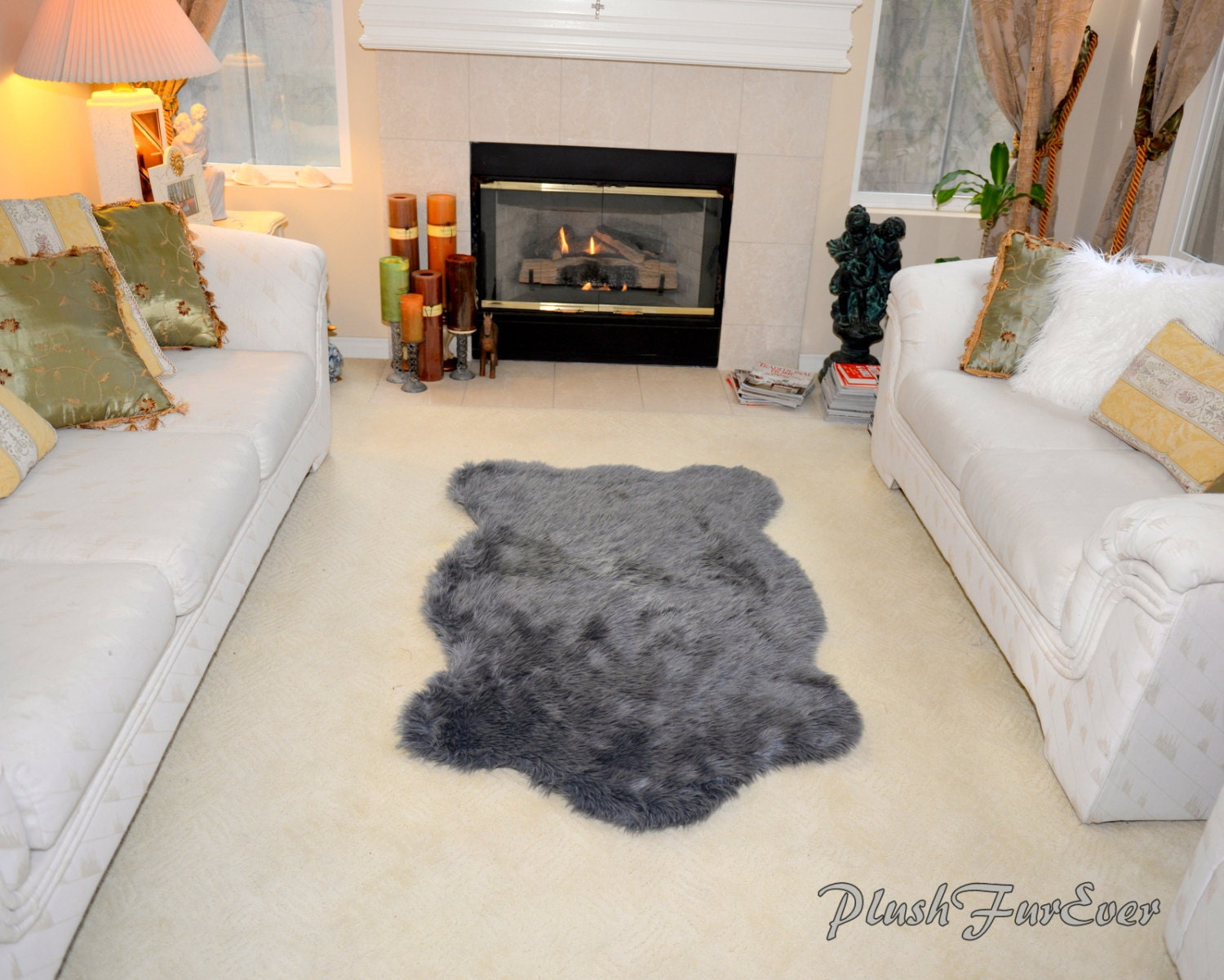 Luxury Gray Sheepskin Faux Fur Rug Living Room Elegant
