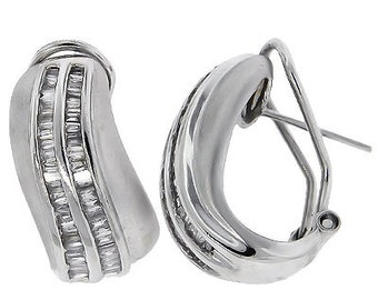0.90 Cttw G H SI2 SI3 Princess Brilliant Cut Diamonds Earrings in 14k White Gold