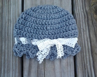 Crochet baby hat, vintage style cloche, gray baby hat with lace ribbon, toddler hat, grey beanie with cream lacy ribbon, lacy baby hat
