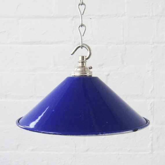 Metal Blue Enamel Light Lamp Shade with new bayonet fit bulb Holder