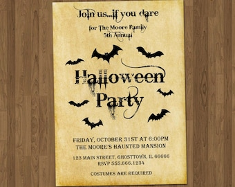 Halloween Invite - Adult Halloween Invitation - Halloween Invitation Printable- Halloween Party Invitation - Vintage Bats Scary