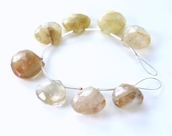Rutile Briolettes Rutilated Quartz Briolettes RARE Heart Large Focals, Your Choice of 1, 2, 3, or 4 Briolettes, 13 to 15.5mm Gold Copper CB