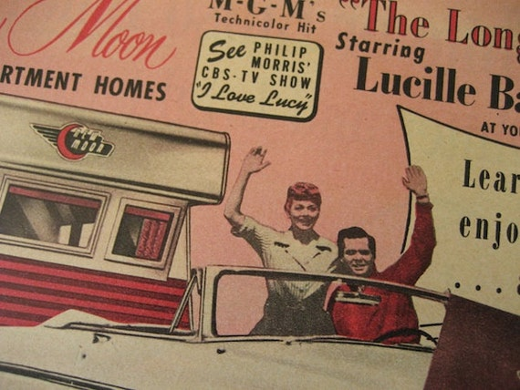 "1954 Vintage New Moon Mobile Living Ad starring Lucille Ball and Desi Arnaz in ""The Long, Long Trailer"" / Ready To Frame / Paper Ephemera"