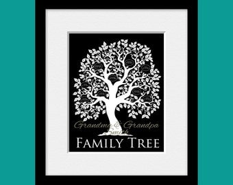 Grandparents Gift, Family Tree Silhouette, Family Tree Wall Print,  Name and Birthdates Tree, Customized Grandparents Gift, Christmas Gift