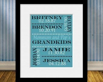 Personalized Grandparent Gift, Grandparents Gift, Grandchildren Names and Birthdate Print, Grandparent's Anniversary Gift, Christmas Gift