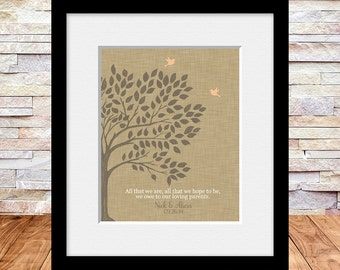 Parent's Thank You Gift, Bride's Parent Gift, Groom's Parent Gift, Parent's Anniversary Gift, Wedding Tree Print, Thank You Gifts,