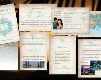 Passport Wedding Invitations // Paradise Destination Wedding // Fiji Bali Mexico Cabo Dominican // Teal Starfish// Rustic Natural Paper