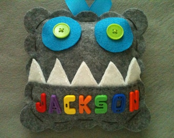 Monster Tooth Fairy Pillow.  Personalized  Tooth Fairy Pillow.  Boy's Tooth Fairy Pillow