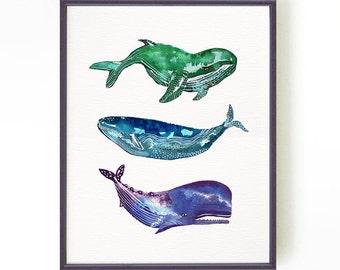 Whales print sea life print watercolor painting Whale art Sea life art  Nautical art Bathroom wall art Blue whale Ocean art Buy 2 Get 1 FREE