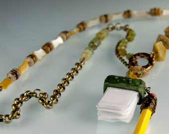 Schoolhouse Rock Necklace - green garnet, yellow dendritic agate, serpentine, gold lip shell and bronze