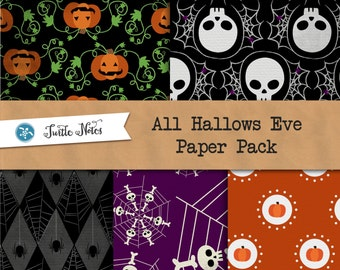 All Hallows Eve Paper Pack  :  16 Digital Scrapbook Papers