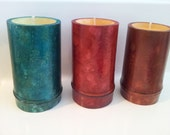 Bamboo-Soy-Scented Candles- Marbled Finish (Fire Cured Reusable Container) Choose Scent From List-Gift Candles