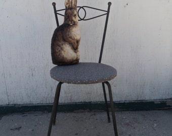 Vintage Shabby Mid Century Wrought Iron Corner Vanity Chair