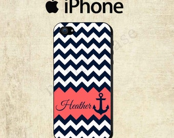 iPhone 6 Plus iPhone 6 Case - iPhone 5 Case - iPhone 4 Case - iPhone 5C Case - iPhone 5S Case -Navy Coral Chevron Personalized Monogram Case