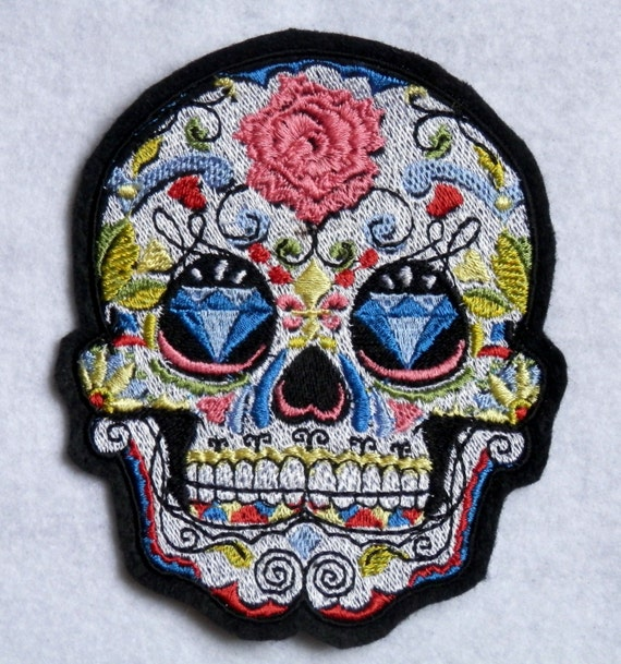 Sugar Skull Iron On Patch Diamonds Roses 3.75 inches by 4.5