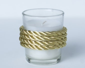 Set of 24 Votive Candles Gold Rope Wedding