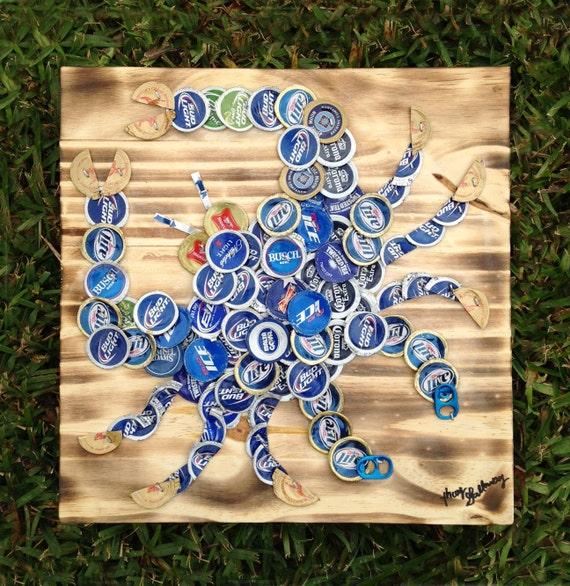 Items similar to blue crab beer caps art 12 x 12 for Bottle cap hat diy