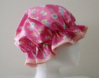 Girls Shower Cap. Handmade. Laminated Cotton. PVC FREE. Durable, Practical & Pretty. Gift For Girls. Bath Gift