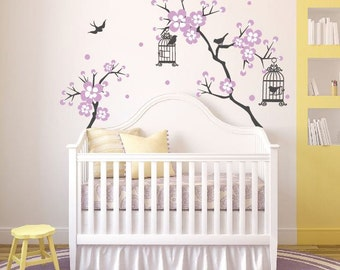 Baby Girl Room Decor Cherry Blossom Tree Wal Decal Wall Decals For Nursery  Wall Sticker Personalized
