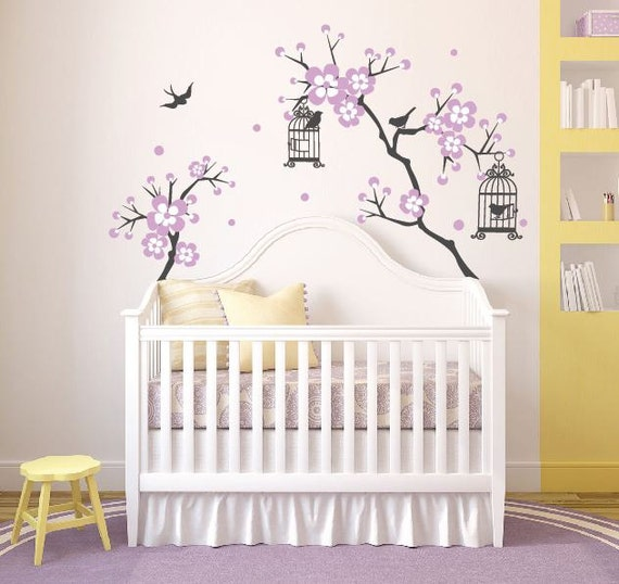b b fille chambre decor cherry blossom arbre wal decal wall. Black Bedroom Furniture Sets. Home Design Ideas