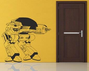 Scifi art inspired by Robocop ED 209 Robot vinyl wall decal