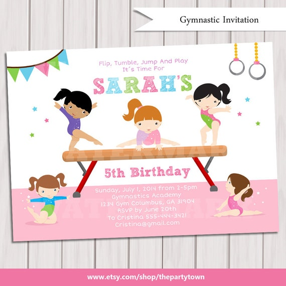 GYMNASTIC Birthday Invitation Printable Gymnastics invitation