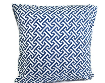 Pillow, Throw Pillow Cover, Decorative Pillow Cover One Royal Blue Geometric Design