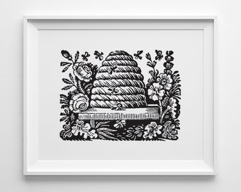 Bee Hive Print, Spring Decor, Bee Hive Decor, Black and White Art, Nature Art, Black and White Kitchen Art