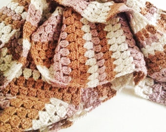 Mixed brown crochet autumn scarf