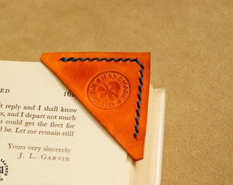 Real genuine leather bookmark corner. Completely handmade in UK. Wide choice of colours.