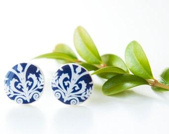 Vintage Blue Stud Earings, Stud Earrings, Vinatge Earrings, Post Earrings, Tiny Stud Earring, Stud Ear