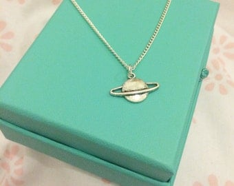 Silver plated Saturn necklace