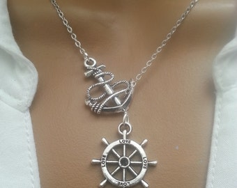 Lariat Style Rudder And Anchor Necklace
