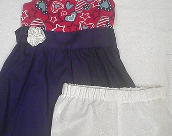 Americana Print Tank Top T-Shirt Dress with Matching Bloomers - Size 24M