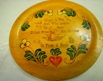 vintage plate-wood-poem for girl-folk art-wall decor-kitsch-