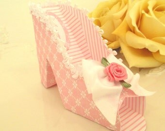 10 Pink Wedding Favor Shoe Box , Pink and White Bridal Shower Gift Box , Pink and White Damask Paper Shoe , Paper Shoe