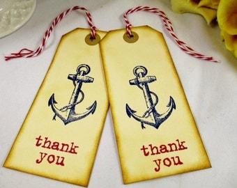 Nautical Wedding Favor Tag - Anchor Wedding Thank You Tag - Gift Tag - Destination Wedding Welcome Bag Tags - Name Tags -