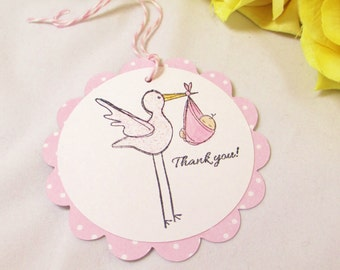 10 Stork Baby Tags... Gift Tags, Girl Baby Shower Favor Tags, Thank You Tags, Pink Baby Shower Tags, It's a Girl Baby Tags, Baby Girl Tags