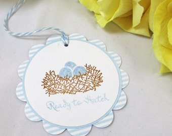 10 Bird's Nest Baby Tags... Boy Baby Shower Favor Tags/ Baby Tags/Gift Tags/Blue/Baby Boy/ It's a Boy Baby Tags/ Thank You Tags