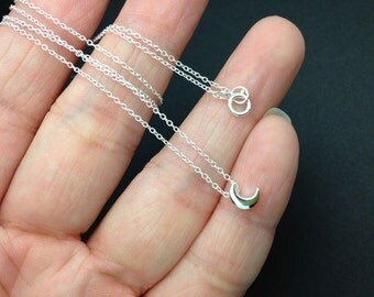 Dainty All Sterling Silver Crescent moon Necklace -  tiny moon necklace
