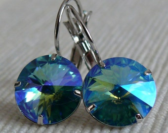 Aqua Shimmer, Swarovski crystal earrings, rhodium plated, hypoallergenic, 12mm