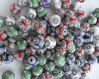 Indonesia Beads, Handmade, Choice of Color with Rhinestones & Silver Metal Embellishments - 14mm x 15mm