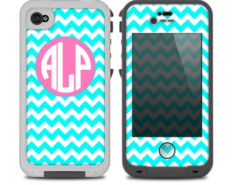 The Turquoise & White Chevron with Pink Circle Monogram Skin for the iPhone LifeProof Case